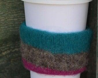 Felted Coffee Sleeve - Felted Canadian Wool - Reversible Coffee Sleeve