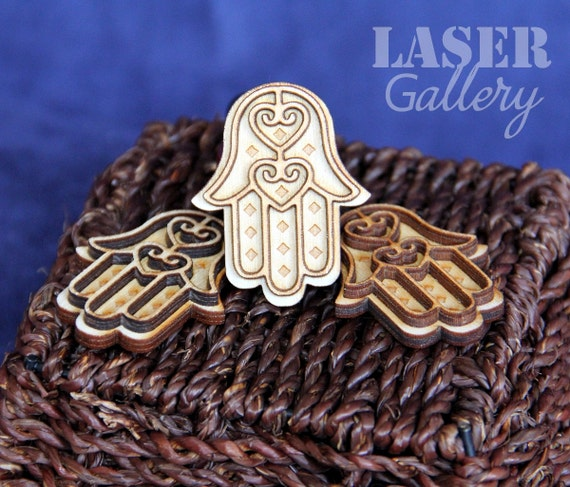 Set Of Three Wooden Hamsa Hands Laser Cut Engraved Hamsa
