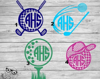 Golf Decal, Golf Car Decal, Golf Monogram Decal, Golf Ball Decal, Monogram Golf Ball Decal, Golf,  5 inch - You choose color and image