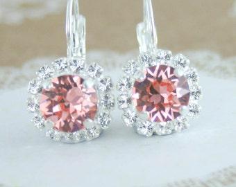 Peach crystal earrings,coral crystal earrings,swarovski,swarovski rose peach,peach bridesmaid earrings,peach wedding,pink peach,leverback