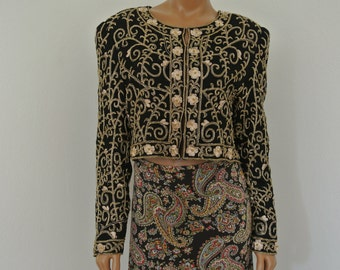 Deco Beaded Bolero Cropped Jacket Silk Made in India by Laurence Kazar XXL