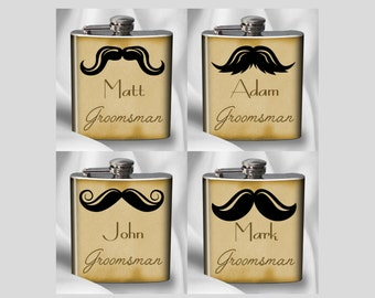 Mustache Flask Set of 4 - Groomsman Gift