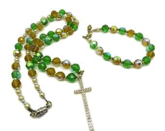 Vintage Rhinestone Cross Necklace Set,| Green, Orange Beaded Bracelet, Necklace, Religious Demi Parure