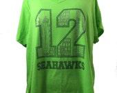 Plus Size 4x Seahawks Rhinestones Short Sleeve V-Neck Tee in Neon Green