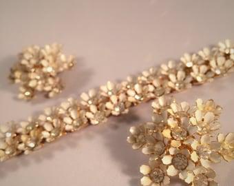 Vintage Daisy Set Earrings and Bracelet