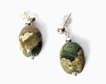 Rhyolite Post Earrings, Sterling Silver Jewelry, Handmade Polished Stone Beads