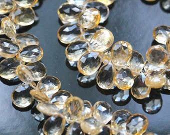 Golden Citrine Faceted Pear Briolettes, 9 - 10 mm, 6 beads GM0901FP/10/6, # 303