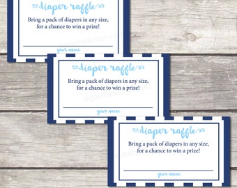 diaper raffle cards, baby boy shower, instant download, oh boy blue stripes, printable file