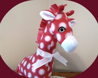 American Made Giraffe Stuffed Animal/Pink Polka Dot Fleece Toy/African Safari Jungle Animal/Gift for Kids/Plushie/Stuffed Toy/Zoo animal
