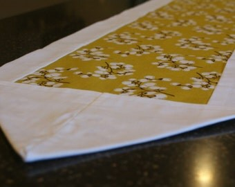 Olive Green Muslin Table Runner