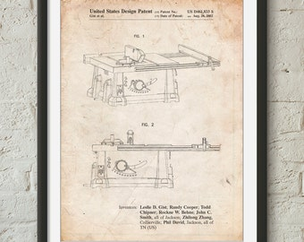 Table Saw Patent Poster, Woodworking Tools, Tool Art, Carpentry, Mens Gifts, PP0999