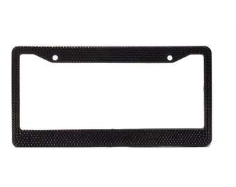 black crystal rhinestone license plate frame with crystal screw caps