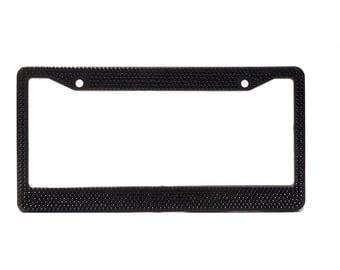 Black Crystal Rhinestone license Plate Frame With Crystal Screw Caps