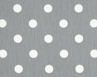 SHIPS SAME DAY Grey and White Polka Dot Fabric - Preimer Prints Polka Dots Storm Grey - Fabric by the 1/2 yard