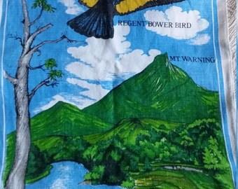 Vintage linen Wildlife refuge WollumbinTweed Valley Northern NSW tea towel with Bower Bird Mt Warning