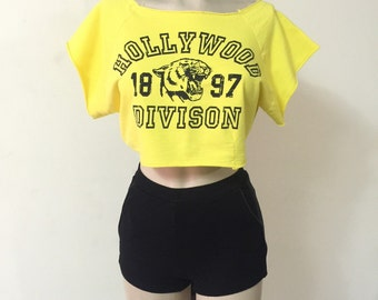 Vintage VTG 80'S 90'S Retro Yellow Sporty Crop Top