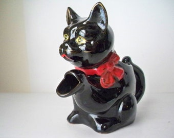 1950s Vintage Black Kitty Cat Small Pitcher made in Japan by Wales