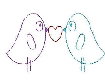 Red work Valentine's Birds Embroidery Design