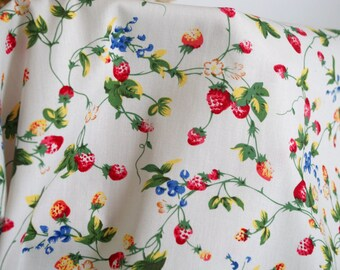 Village Floral Cotton Fabric Printed with Green Leaves and Fresh Strawberries ,for Clothing/Table Runner/Curtain Fabric/Bag ETC—1/2 Yard