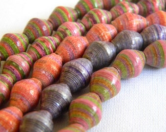 Paper Bead Jewelry Supplies - Paper Beads - Hand painted - Lot of 50 - #B403