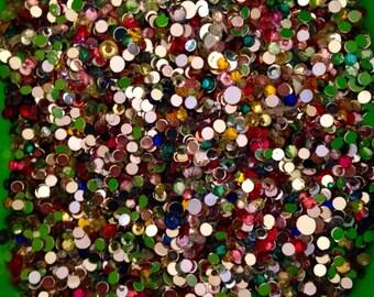 HUGE mixed bag of multicolored acrylic rhinestones.