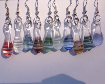 Handmade Lamp-worked Glass Earrings (color-swirl)