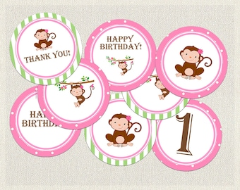 Monkey Cupcake Toppers Birthday Pink Green 1st 2nd 3rd Printable Girls IV-1