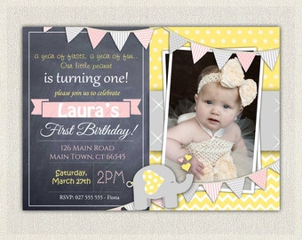 First Birthday Invitation Silver And Pink Princess Invitations - Digital first birthday invitation