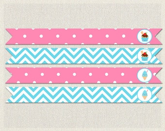 Straw Flags Printable Birthday Ice Cream Pink 1st 2nd 3rd Blue Girl IV-13