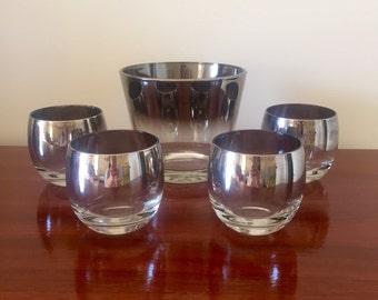 Silver Fade Roly Poly Glassware - Silver Ombre Glassware - Queens Lusterware Barware - Mid Century Modern Barware