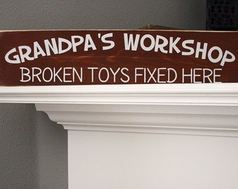 "24x6"" Grandpa's Workshop Wood Sign"