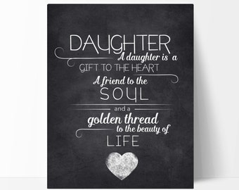Daughter Quote Typography Chalkboard Print, the Perfect Daughter Gift