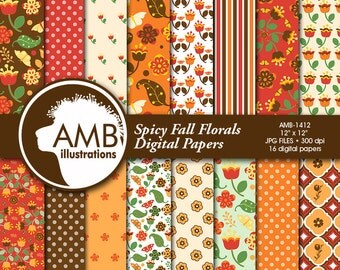 Autumn Digital Papers, Spicy autumn florals Paper, Backgrounds, Bright floral papers, Fall digital papers, Commercial Use,  AMB-1412