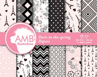 Digital Papers, Scrapbooking papers, paris papers, pink papers, scrapbook papers, commercial use, AMB-1265