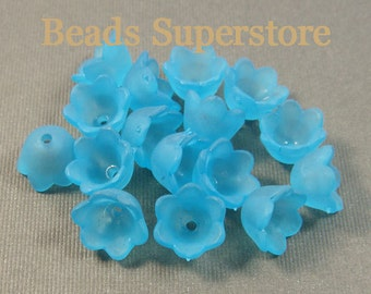 10 mm x 6 mm Sky Blue Lucite Flower Bead - 24 pcs