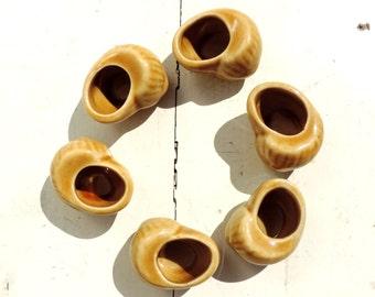 French Vintage Ceramic Snail Serving Pots For Escargot/ French Vintage Escargot Pots/Vintage Ceramic Snails for Escargot/Set of 6
