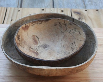 Coconut bowl,coconut set shell 2 bowls,bright and dark color,size 4.5 -5  x  1 - 1.5inch
