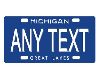 Custom, Personalized State License Plate - Michigan 1984 - Add Any Text - Free Shipping