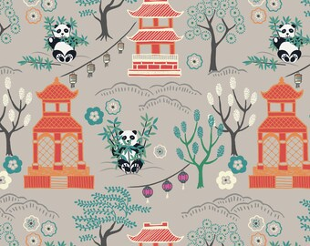 Minshan A116-2 Panda Temple on light grey Lewis & Irene Patchwork Quilting Fabric