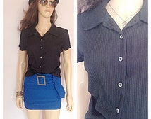 90s black minimalist top /  vintage grunge shirt /  short sleeves button up /   90s club kid top
