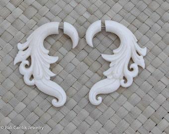 Bone Fake Gauge Earrings, Bone Earrings, Bone Tribal Earrings, Bone Fake Piercing