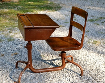 Vintage School Desk with Attached Chair Wood and Metal Adjustable Height Child Children Kid Size PanchosPorch