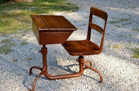Vintage School Desk With Attached Chair Wood And Metal