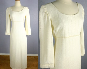 Vintage 60s Wedding Dress MOD Wedding Dress KNIT Wedding Gown Empire Waist Vintage Bridal Long Sleeve Boho Chic PEARL Hippie Retro Romantic