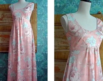 VINTAGE 1970s Summer Maxi Boho Peach Floral Print Dress Womens S M