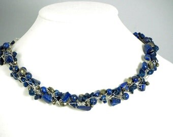 Lapis lazuli and pyrite necklace
