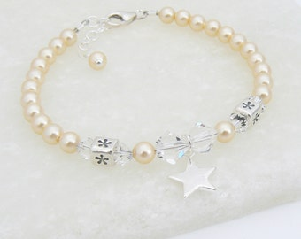 Girls Christening Bracelet with Swarovski Crystals and Pearls and Sterling Silver