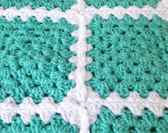Green Baby Blanket Granny Square Baby Blanket Mint Green Baby Blanket Green Crochet Baby Blanket