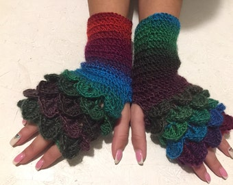 crochet gloves Fingerless gloves dragon scales gloves  women fingerless gloves Crocodile Stitch women's Arm Warmers winter gift Accessory