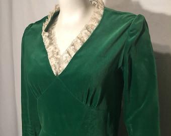 Vintage  Moss Green Velvet Long Sleeve Formal Long Dress Medium M 60s Sixties V Neck with Lace Edge